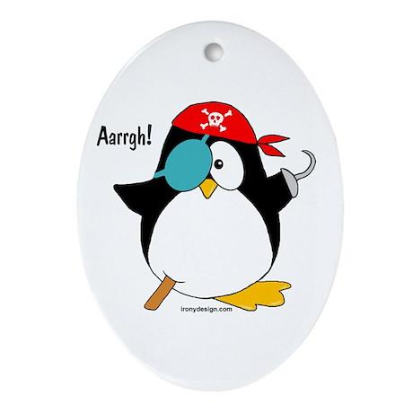 Pirate Penguin Ornament (Oval)