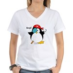 Pirate Penguin Women's V-Neck T-Shirt