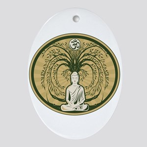 Buddha and the Bodhi Tree Oval Ornament