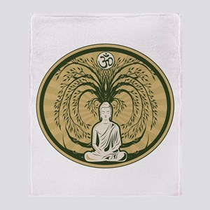Buddha and the Bodhi Tree Throw Blanket