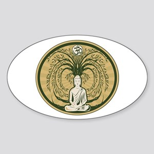 Buddha and the Bodhi Tree Sticker (Oval 10 pk)