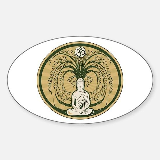 Buddha and the Bodhi Tree Sticker (Oval 10 pk)