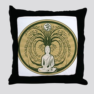 Buddha and the Bodhi Tree Throw Pillow