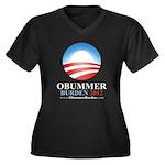 Obummer Burden Women's Plus Size V-Neck Dark T-Shi