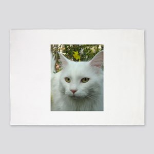 maine coon fourth white 5'x7'Area Rug