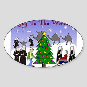 Catholic Nuns Christmas Sticker (Oval)