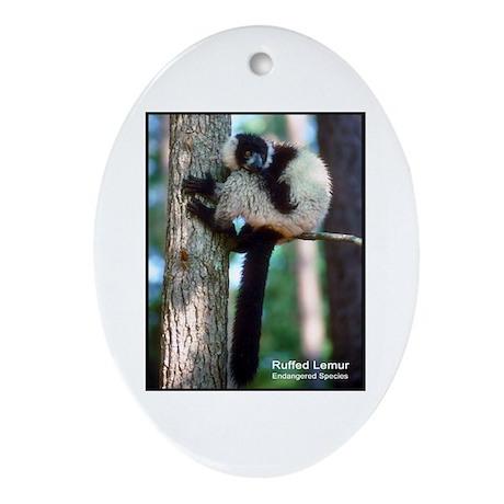 Ruffed Lemur Photo Oval Ornament