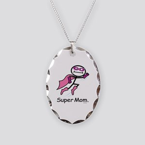 Mothers Day Super Mom Necklace Oval Charm