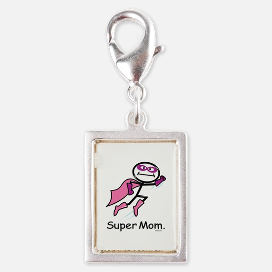 Mothers Day Super Mom Silver Portrait Charm