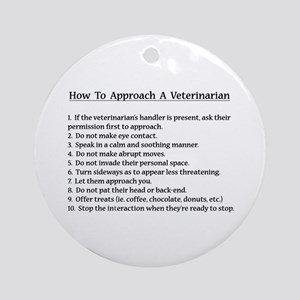 Approaching A Veterinarian Round Ornament