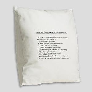 Approaching A Veterinarian Burlap Throw Pillow