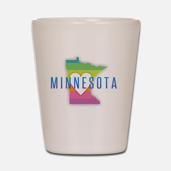 Minnesota Heart Rainbow Shot Glass