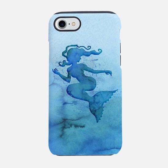 Blue Watercolor Mermaid iPhone 7 Tough Case