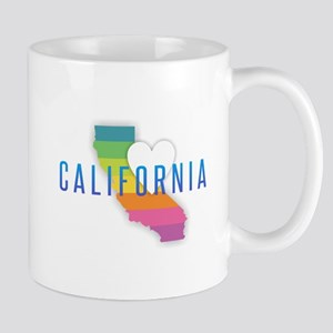 California Heart Rainbow Mugs