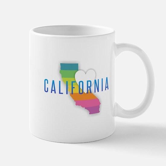 California Heart Rainbow Mugs