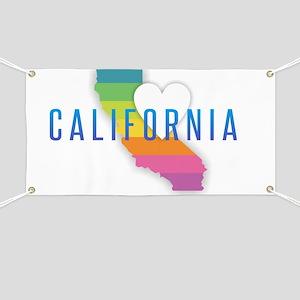 California Heart Rainbow Banner