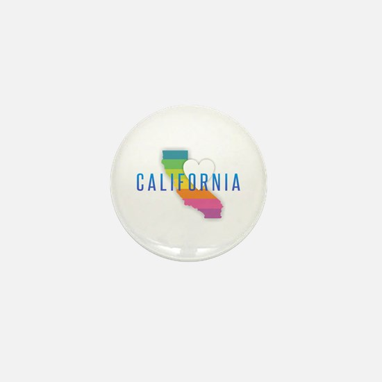 California Heart Rainbow Mini Button
