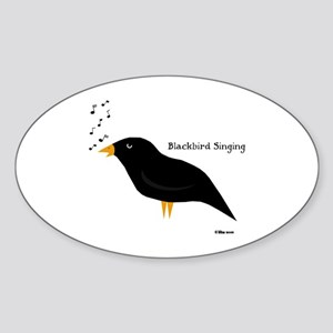 Blackbird Singing Oval Sticker
