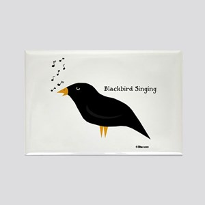 Blackbird Singing Rectangle Magnet