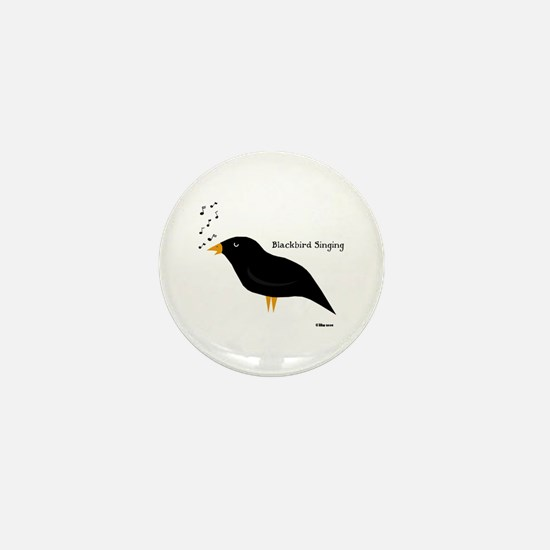 Blackbird Singing Mini Button