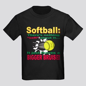 Girls Softball Kids Dark T-Shirt
