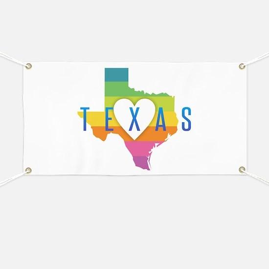 Texas Heart Rainbow Banner