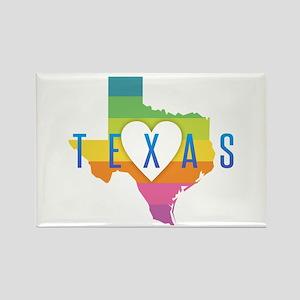 Texas Heart Rainbow Magnets