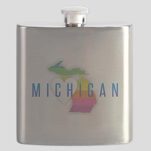 Michigan Heart Rainbow Flask