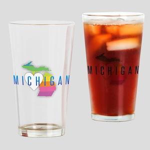 Michigan Heart Rainbow Drinking Glass