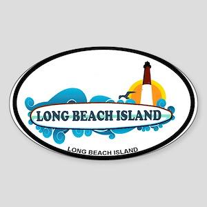 Long Beach Island NJ - Surf Design Sticker (Oval)