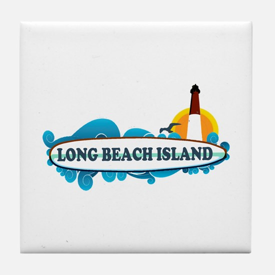 Long Beach Island NJ - Surf Design Tile Coaster