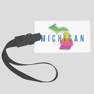 Michigan Heart Rainbow Large Luggage Tag