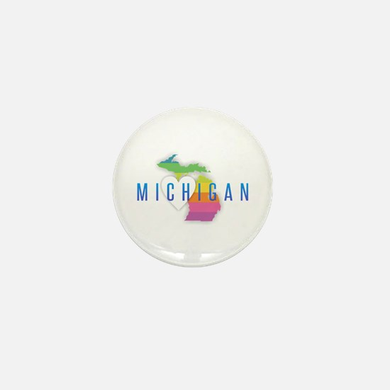 Michigan Heart Rainbow Mini Button
