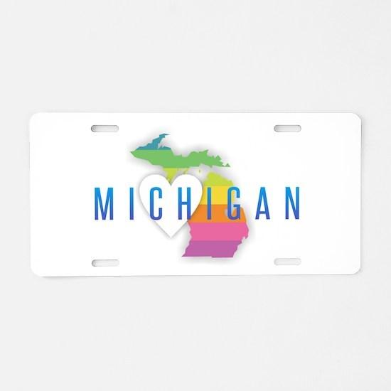 Michigan Heart Rainbow Aluminum License Plate