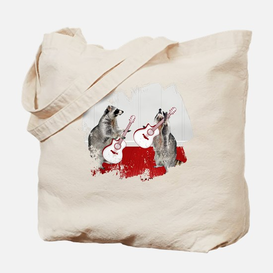 Raccoons Playing Guitar Tote Bag