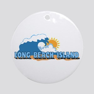 Long Beach Island NJ - Waves Design Ornament (Roun