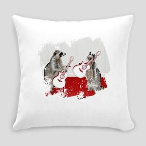 Raccoons Playing Guitar Everyday Pillow