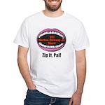 Morton Downey Jr. Zip It Logo White T-Shirt