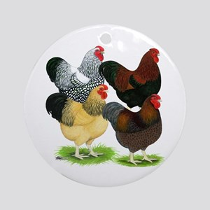 Wyandotte Rooster Assortment Ornament (Round)