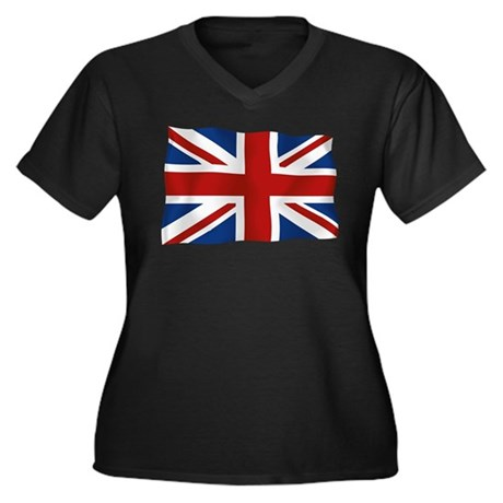 Union Jack flying flag Women's Plus Size V-Neck Da