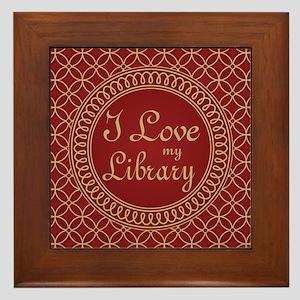 Ornate I Love My Library Framed Tile
