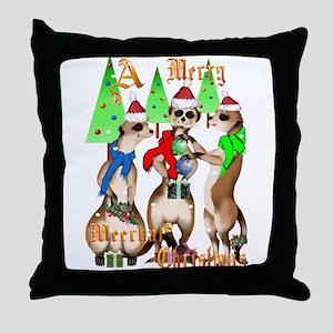 Merry Meerkat Christmas Throw Pillow