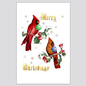 Two Christmas Birds Large Poster