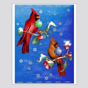 Two Christmas Birds Small Poster