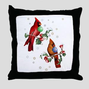 Two Christmas Birds Throw Pillow