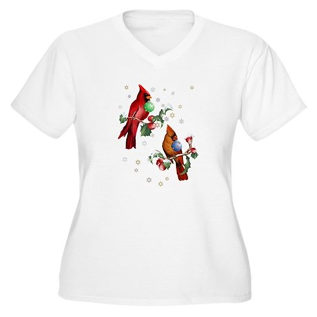 Two Christmas Birds Women's Plus Size V-Neck T-Shi