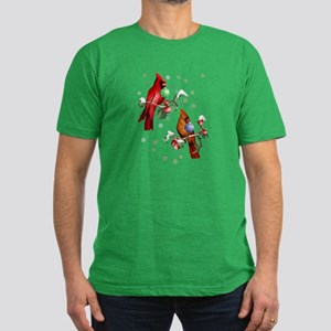 Two Christmas Birds Men's Fitted T-Shirt (dark)