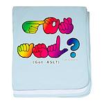 Got ASL? Rainbow SQ CC baby blanket