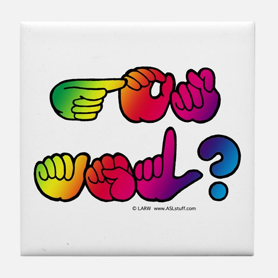 Got ASL? Rainbow SQ Tile Coaster