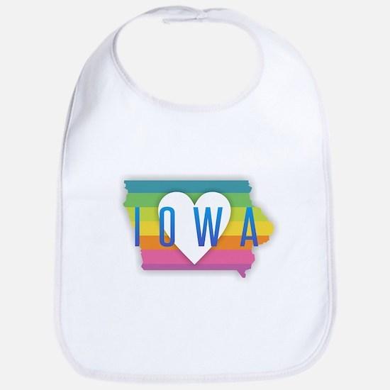 Iowa Heart Rainbow Baby Bib